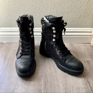 ZARA Tweed Pearl Leather Combat Ankle Boots Black
